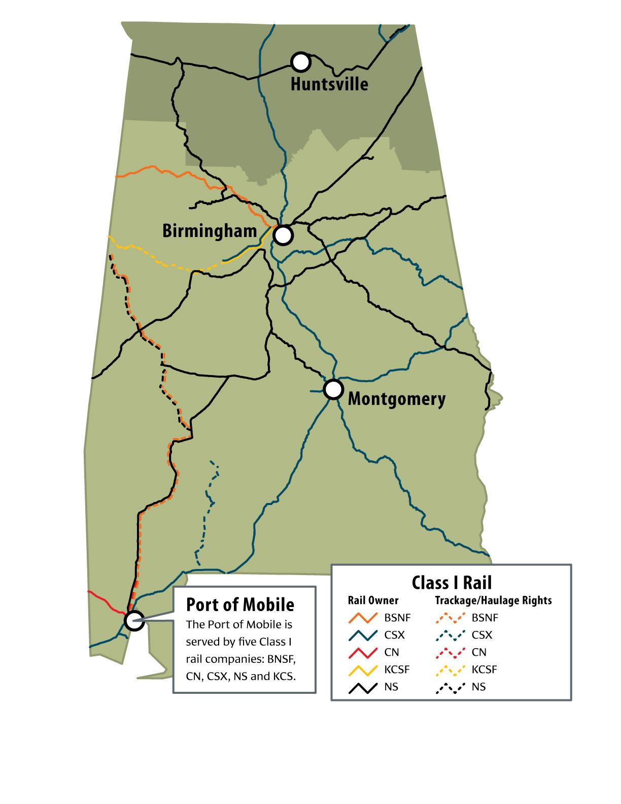 Alabama Mainline Rail Map