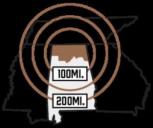 NAIDA 200 Mile Radius Automotive Supplier Map